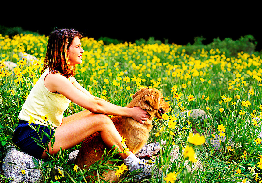 Female sitting on a rcok in a daisy field with her dog
