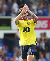 Blackburn Rovers' Charlie Mulgrew applauds the crowd at the end of todays match<br /> <br /> <br /> Photographer Rachel Holborn/CameraSport<br /> <br /> The EFL Sky Bet Championship - Ipswich Town v Blackburn Rovers - Saturday 4th August 2018 - Portman Road - Ipswich<br /> <br /> World Copyright &copy; 2018 CameraSport. All rights reserved. 43 Linden Ave. Countesthorpe. Leicester. England. LE8 5PG - Tel: +44 (0) 116 277 4147 - admin@camerasport.com - www.camerasport.com