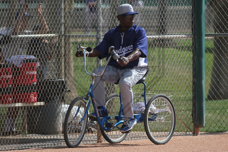 GLENDALE - March 2013: Manny Mota  of the Los Angeles Dodgers during a Spring Training workout on March 21, 2013 at Camelback Ranch in Glendale, Arizona.  (Photo by Brad Krause). .