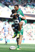 28/05/2016;Guinness Pro12 Final<br /> Connacht&rsquo;s Tiernan O'Halloran celebrates with Bundee Aki after scoring his side's first try<br /> Photo Credit: actionshots.ie/Tommy Grealy