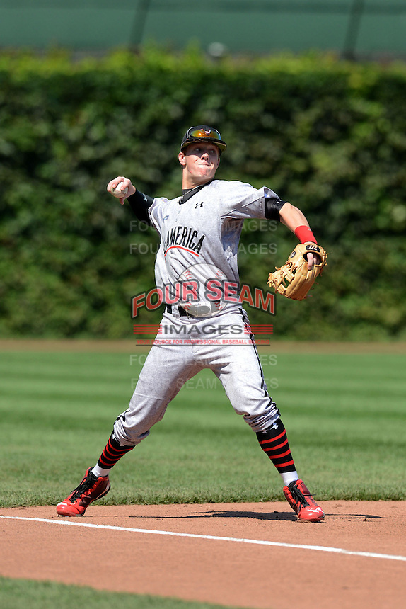 Infielder Gregory Deichmann (4) of Brother Martin High School in Metairie, Louisiana during the Under Armour All-American Game on August 24, 2013 at Wrigley Field in Chicago, Illinois.  (Mike Janes/Four Seam Images)