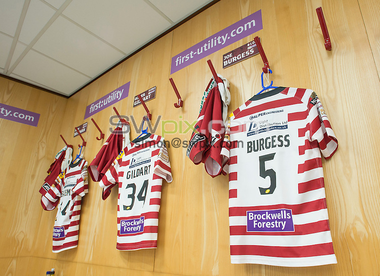Picture by Allan McKenzie/SWpix.com - 10/10/2015 - Rugby League - First Utility Super League Grand Final - Leeds Rhinos v Wigan Warriors - Old Trafford, Manchester, England - Wigan shirts, dressing room.