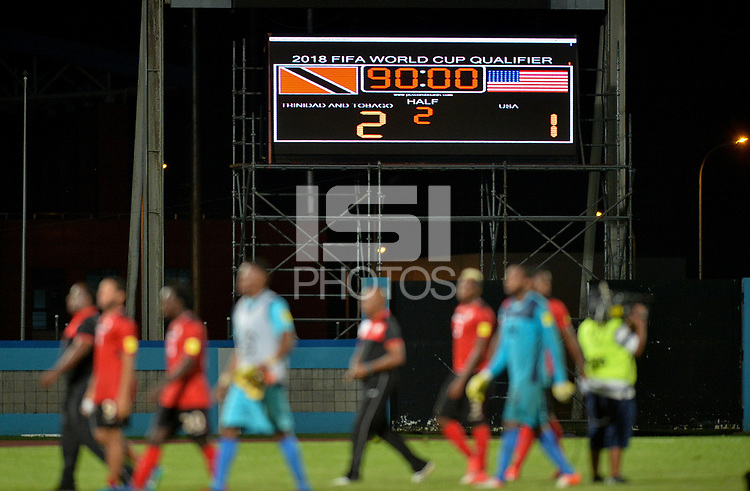 Couva, Trinidad & Tobago - Tuesday Oct. 10, 2017: The Final score during a 2018 FIFA World Cup Qualifier between the men's national teams of the United States (USA) and Trinidad & Tobago (TRI) at Ato Boldon Stadium.