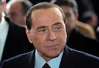 Il Presidente del Consiglio Silvio Berlusconi arriva alla stazione Termini di Roma, 24 marzo 2009, al termine del viaggio di prova del primo treno Frecciarossa che copre la tratta in tre ore. .UPDATE IMAGES PRESS/Riccardo De Luca