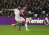 4th February 2019, London Stadium, London, England; EPL Premier League football, West Ham United versus Liverpool; Mohamed Salah of Liverpool challenges Ryan Fredericks of West Ham United