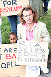 Bahroz Wakashi with other Asylum seekers in Mosney,  Co Meath protesting this morning as 150 people are being moved to alternative accommodation...Photo NEWSFILE/Jenny Matthews.(Photo credit should read Jenny Matthews/NEWSFILE)....This Picture has been sent you under the condtions enclosed by:.Newsfile Ltd..The Studio,.Millmount Abbey,.Drogheda,.Co Meath..Ireland..Tel: +353(0)41-9871240.Fax: +353(0)41-9871260.GSM: +353(0)86-2500958.email: pictures@newsfile.ie.www.newsfile.ie.FTP: 193.120.102.198.
