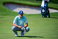 Jordan Spieth (USA) looks over his shot from the trap on 18 during round 2 of the Dean &amp; Deluca Invitational, at The Colonial, Ft. Worth, Texas, USA. 5/26/2017.<br /> Picture: Golffile | Ken Murray<br /> <br /> <br /> All photo usage must carry mandatory copyright credit (&copy; Golffile | Ken Murray)