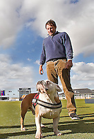 01  OCT 14 Nick Faldo went to the dogs at The Alfred Dunhill Links Championship at The Old Course in St. Andrews, Scotland. (photo credit : kenneth e. dennis/kendennisphoto.com)