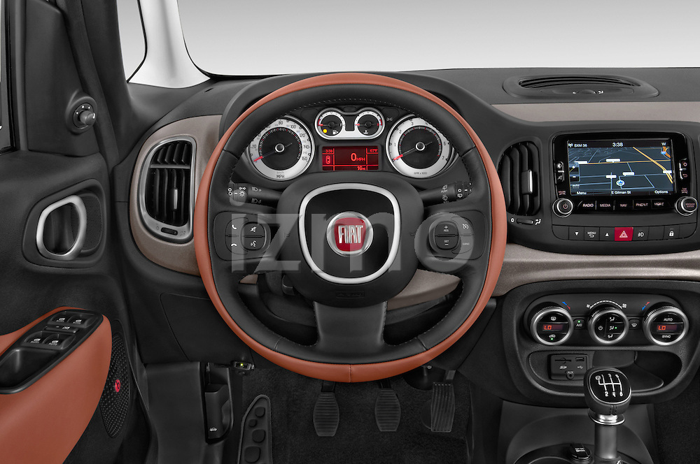Car pictures of steering wheel view of a 2014 Fiat 500L Trekking 5 Door Hatchback Steering Wheel