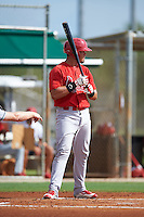 GCL Cardinals designated hitter Carlos Rodriguez (43) at bat during the first game of a doubleheader against the GCL Marlins on August 13, 2016 at Roger Dean Complex in Jupiter, Florida.  GCL Cardinals defeated GCL Marlins 4-2 in a continuation of a game originally started on August 8th.  (Mike Janes/Four Seam Images)
