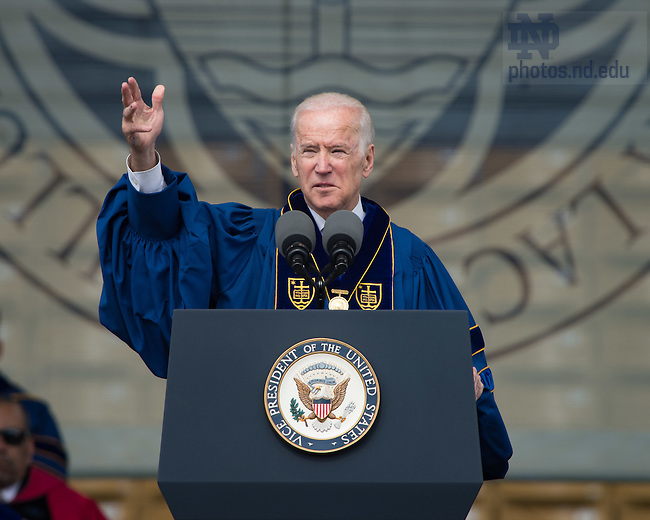 May 15, 2016; Latare Medal co-awardee Vice President Joe Biden speaks during Commencement 2016. (Photo by Matt Cashore/University of Notre Dame)