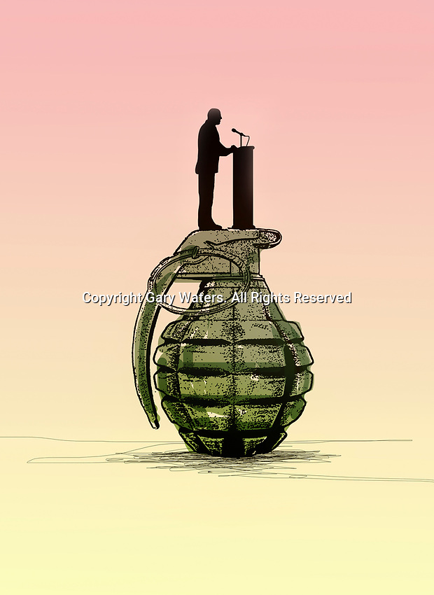 Politician making speech standing on top of grenade