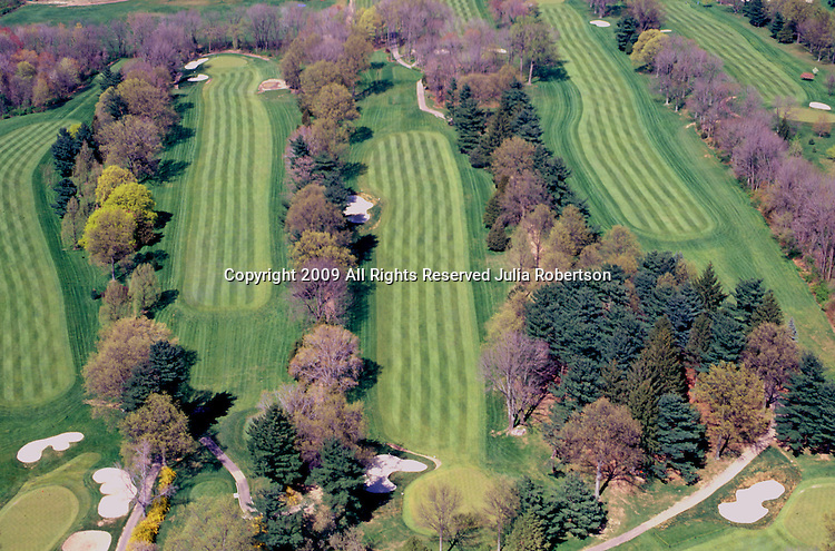 Aerial view of  golf course in the midwest
