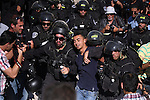 "Israeli policemen detain a Palestinian protester during a demonstration marking the 66th anniversary of the ""Nakba,"" meaning catastrophe, when many Palestinians fled or were expelled from their towns and villages during the war of Israel's foundation in 1948, at Damascus Gate in Jerusalem's Old City May 15, 2014. An Israeli police spokesman said on Thursday that 5 Palestinian protesters were detained during the unauthorized demonstration in Jerusalem's Old City, where stones were thrown at policemen and an Israeli flag was burnt. Also on Thursday, Israeli forces shot dead two Palestinians during a stone-throwing protest marking the ""Nakba"" in the occupied West Bank. Photo by Saeed Qaq"