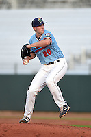 Cedar Rapids Kernels pitcher Jared Wilson (20) delivers a pitch during a game against the Quad Cities River Bandits on August 19, 2014 at Perfect Game Field at Veterans Memorial Stadium in Cedar Rapids, Iowa.  Cedar Rapids defeated Quad Cities 5-3.  (Mike Janes/Four Seam Images)