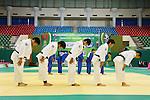 (L to R) Takeshi Ojitani, Masashi Nishiyama, Takahiro Nakai, Riki Nakaya, Masashi Ebinuma (JPN), .April 21, 2013 - Judo : .Asian Judo Championships 2013, Men's Team Competition Semifinal .at Bangkok Youth Centre, Bangkok, Thailand. .(Photo by Daiju Kitamura/AFLO SPORT) [1045]