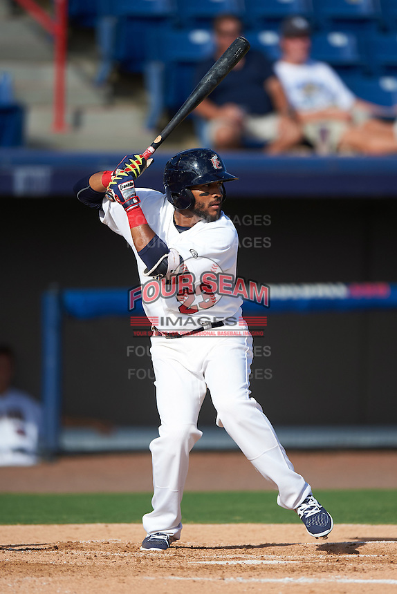 Brevard County Manatees shortstop Wendell Rijo (23) at bat during a game against the Daytona Tortugas on August 14, 2016 at Space Coast Stadium in Viera, Florida.  Daytona defeated Brevard County 9-3.  (Mike Janes/Four Seam Images)