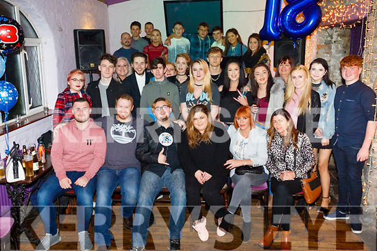 Kieran Keane Condon, Gallowsfield Tralee, celebrates his 18th Birthday with family and friends at the Greyhound Bar on Friday