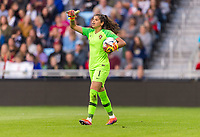 ST. PAUL, MN - SEPTEMBER 3: Ines Pereira #1 of Portugal yells to her team during a game between Portugal and USWNT at Allianz Field on September 3, 2019 in St. Paul, Minnesota.