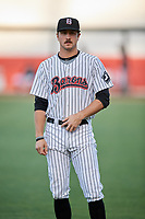 Birmingham Barons Jameson Fisher (7) warms up before a game against the Pensacola Blue Wahoos on May 8, 2018 at Regions FIeld in Birmingham, Alabama.  Birmingham defeated Pensacola 5-2.  (Mike Janes/Four Seam Images)