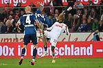 15.04.2019, RheinEnergieStadion, Koeln, GER, 2. FBL, 1.FC Koeln vs. Hamburger SV ,<br />  <br /> DFL regulations prohibit any use of photographs as image sequences and/or quasi-video<br /> <br /> im Bild / picture shows: <br /> Anthony (Toni) Modeste (FC Koeln #27), im Zweikampf gegen  Rick van Drongelen (HSV #4), L&eacute;o Lacroix (HSV #2), fliegt duch die Luft <br /> <br /> Foto &copy; nordphoto / Meuter