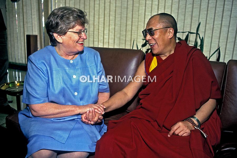 Pessoa. Personalidade. Dalai Lama com Luiza Erundina. SP. 1992. Foto de Juca Martins.