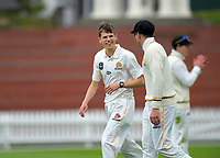 Ben Sears and Hamish Bennett on day one of the Plunket Shield cricket match between the Wellington Firebirds and Otago Volts at Basin Reserve in Wellington, New Zealand on Monday, 21 October 2019. Photo: Dave Lintott / lintottphoto.co.nz
