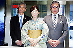 "(L to R) Hitoshi Tokuda, Manager of Marketing for Toshiba's business development division, the robot Aiko Chihira and  Yoji Naka, Store Manager of Mitsubishi Nihonbaashi Main store poses for the cameras at the Nihonbashi Mitsukoshi department store on April 20, 2015, Tokyo, Japan. The robot is being employed for two days as a receptionist to share information with customers about store events and the food court, on April 20th and 21st. From April 22nd the robot will be on show at a ""Play the future with Toshiba"" exhibition held in the store showing how new technology may change future life-style and future department stores. (Photo by Rodrigo Reyes Marin/AFLO)"