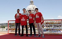 "L'attore britannico Tom Holland posa con alcuni ragazzi che indossano la maglietta del movimento MaBasta per una campagna contro il bullismo dopo il photocall per la presentazione del film ""Spider-Man: Homecoming"" a Roma, 20 giugno 2017. <br /> British actor Tom Holland poses with boys wearing a MaBasta movement t-shirt  to present an anti bullying campaign after the ""Spider-Man: Homecoming"" photocell in Rome, June 20, 2017.<br /> UPDATE IMAGES PRESS/Isabella Bonotto"