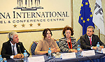 - ALBANIA - 06 October 2014 – Skills for the Future: South Eastern and Turkey –  Press Conference - (left to right) Gerhard Schumann-Hitzler, Director DG Enlargement D  - Regional Cooperation and Assistance, Turkish Cypriot Comnity, Gentjana Sula, Deputy Minister of Social Welfare and Youth of Albania, Madlen Serban, Director ETF and Gazmend Turdiu Deputy Secretary General . PHOTO: Gent SHKULLAKU / Light Studio Agency (LSA)
