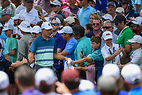 Jordan Spieth (USA) high fives fans on his way to the tee on 3 during round 4 of the 2019 Charles Schwab Challenge, Colonial Country Club, Ft. Worth, Texas,  USA. 5/26/2019.<br /> Picture: Golffile | Ken Murray<br /> <br /> All photo usage must carry mandatory copyright credit (© Golffile | Ken Murray)