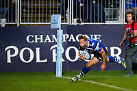Chris Cook of Bath Rugby runs in a try in the second half. Gallagher Premiership match, between Bath Rugby and Exeter Chiefs on October 5, 2018 at the Recreation Ground in Bath, England. Photo by: Patrick Khachfe / Onside Images