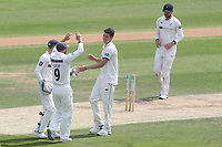Matthew Fisher of Yorkshire celebrates taking the wicket of Simon Harmer during Essex CCC vs Yorkshire CCC, Specsavers County Championship Division 1 Cricket at The Cloudfm County Ground on 8th July 2019