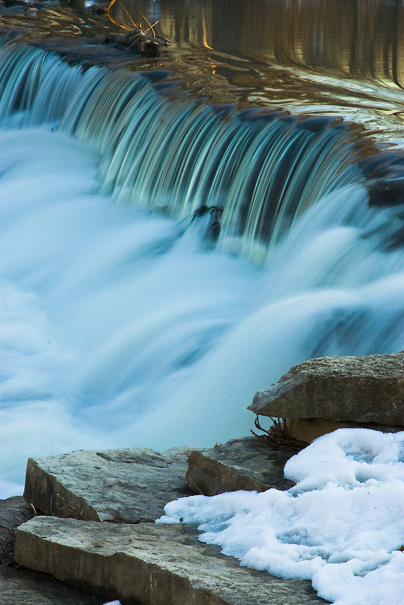 The dam waterfall on the DuPage river