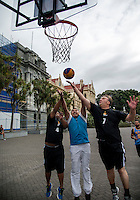 3x3 Basketball - NZ Parliamentarians v NZ Media at Parliament, Wellington, New Zealand on Friday, 11 March 2016. Photo: Dave Lintott / lintottphoto.co.nz