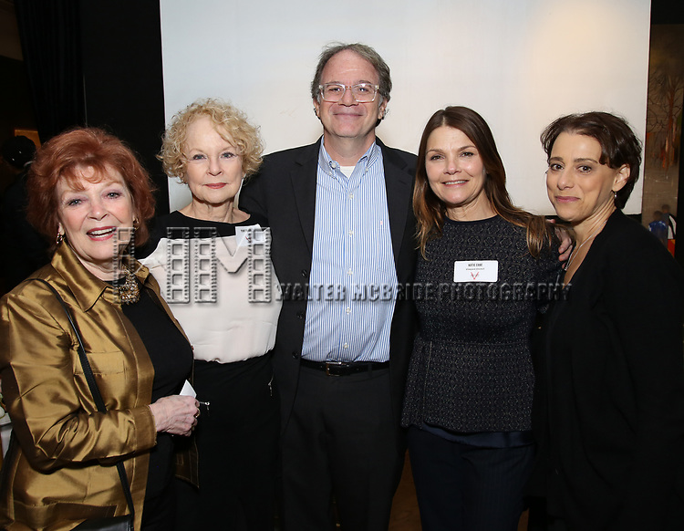 Annette Gillette, Penny Fuller, Douglas Aibel, Kathryn Erbe and Judy Kuhn attends The Vineyard Theatre's Emerging Artists Luncheon at The National Arts Club on November 9, 2017 in New York City.