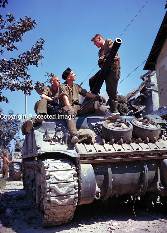 South of Vaucelles, France. June 1944 (Exact date unknown) - Canadian crew of a Sherman-tank