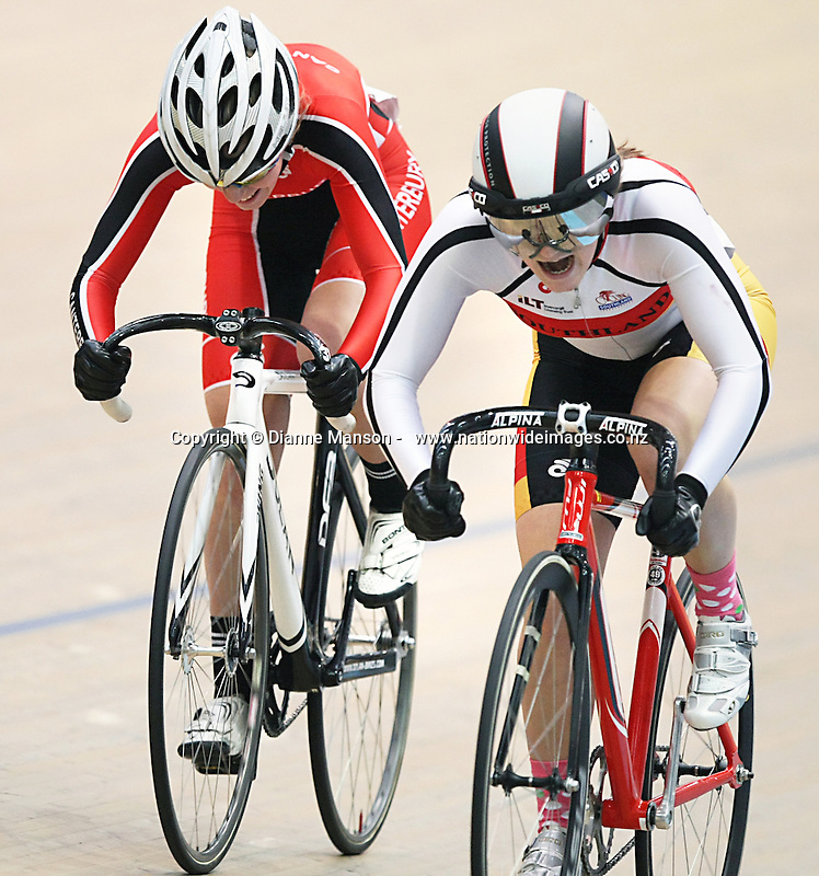 Canterbury's Kate Ward, left, and Southland's Aly Doherty in the W17 Sprint at the Age Group and Omnium track national championships, SIT Zero Fees Velodrome, Invercargill, New Zealand, Saturday, March 08, 2013. Credit:NINZ/Dianne Manson