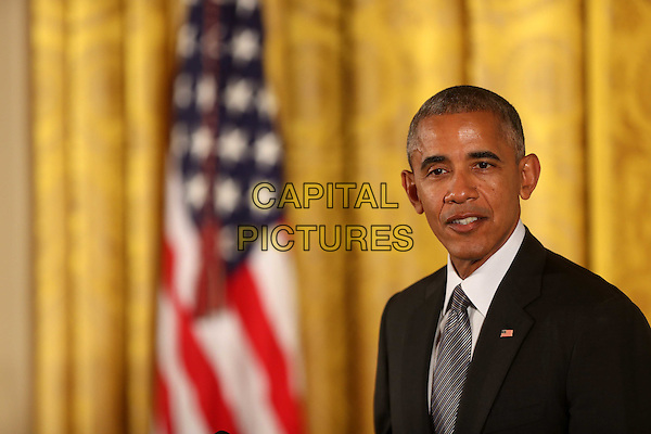 United States President Barack Obama makes remarks following his presenting the 2015 National Medals of Arts and 2015 National Humanities Medals during a ceremony in the East Room of the White House in Washington, DC on Thursday, September 22, 2016. <br /> CAP/MPI34<br /> &copy;MPI34/Capital Pictures