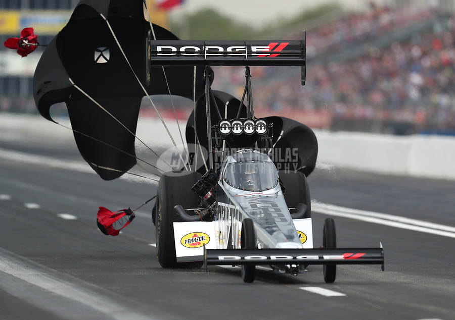 Apr 13, 2019; Baytown, TX, USA; NHRA top fuel driver Leah Pritchett during qualifying for the Springnationals at Houston Raceway Park. Mandatory Credit: Mark J. Rebilas-USA TODAY Sports