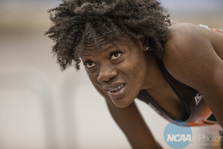 COLLEGE STATION, TX - MARCH 11: Shakima Wimbley of Miami after the 400 meter dash during the Division I Men's and Women's Indoor Track & Field Championship held at the Gilliam Indoor Track Stadium on the Texas A&M University campus on March 11, 2017 in College Station, Texas. (Photo by Michael Starghill/NCAA Photos/NCAA Photos via Getty Images)