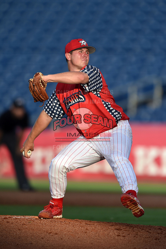 Clearwater Threshers starting pitcher Mark Leiter (39) delivers a pitch during a game against the Brevard County Manatees on June 28, 2014 at Bright House Field in Clearwater, Florida.  Brevard County defeated Clearwater 6-4.  (Mike Janes/Four Seam Images)