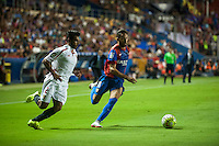 VALENCIA, SPAIN - SEPTEMBER 11: Morales and Tremolinas during BBVA LEAGUE match between Levante U.D. And Sevilla C.F. at Ciudad de Valencia Stadium on September 11, 2015 in Valencia, Spain