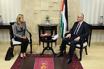 Palestinian Prime Minister, Rami Hamdallah, meets with UNICEF representative in Palestine, Genevieve Putin, in the West Bank city of Ramallah, on August 9, 2017. Photo by Prime Minister Office