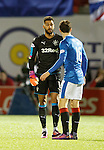 Goalkeeper Wes Foderingham comes upfiield out of his box to remonstrate with Andy Halliday