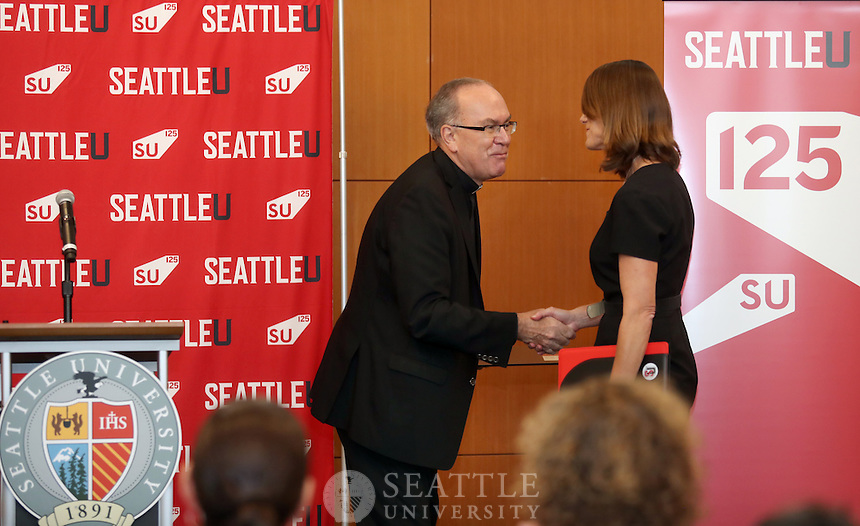 September 28th 2016 - Following a national search, Shaney Fink, has been named the new Director of Athletics for Seattle U, effective Nov. 1. Fink comes to Seattle U from the University of San Diego, a private Catholic university, where she most recently served as Senior Associate Athletics Director and Senior Woman Administrator. Her full tenure at USD spanned more than 17 years and included previous roles in compliance and student services, academic support and as an assistant volleyball coach for the Toreros.<br /> <br /> &ldquo;Seattle University is proud of its athletic program and we are confident that Shaney Fink will build on our success and take the entire program to a higher level,&rdquo; President Steve Sundborg said. &ldquo;It is exciting to welcome her to Seattle U. She is a dynamic leader who brings great experience from an excellent athletic program at the University of San Diego.&rdquo;