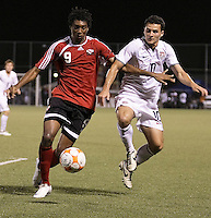 Juma Clarence (9) battles for the ball against Duka Dilly (10). US Under 20 Men's National Team played to a scoreless draw vs Trinidad & Tobago, advancing after winning 4-3 on penalty kicks in Macoya, Trinidad on March 13th, 2009...