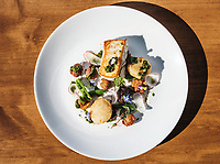 Alaskan halibut with poppy seed créme fraiche, sugar snap peas, marble potato, fried lemon, radish and chermoula at Bittersweet in Denver, Colorado, Tuesday, August 23, 2017. <br /> <br /> Photo by Matt Nager