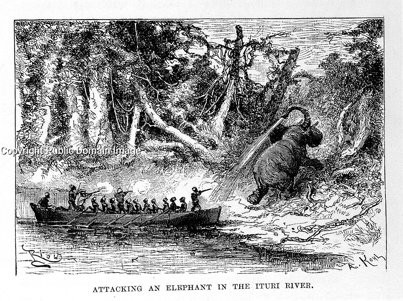 """L0027735 Henry M. Stanley, In darkest Africa <br /> Credit: Wellcome Library, London. <br /> """"Attacking an elephant in the Ituri River.""""<br /> Engraving"""