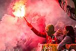 Stockholm 2015-10-25 Fotboll Allsvenskan Hammarby IF - Malm&ouml; FF :  <br /> Hammarbys supportrar med bengalisk eld under matchen mellan Hammarby IF och Malm&ouml; FF <br /> (Foto: Kenta J&ouml;nsson) Nyckelord:  Fotboll Allsvenskan Tele2 Arena Hammarby HIF Bajen Malm&ouml; FF MFF supporter fans publik supporters bengal bengaler r&ouml;k